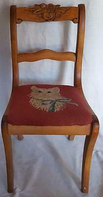 Beautiful Antique Child's Carved Back Chair - Sabre Legs - Needlepoint Seat VGC