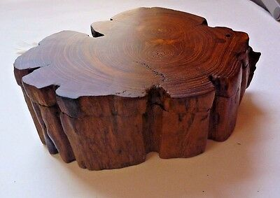 Hand Crafted Natural Wood Box. Brown. Sliding Top.