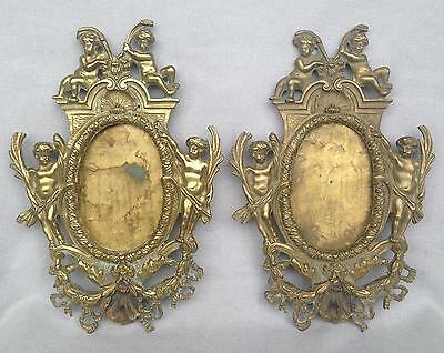 Pair of antique french picture frames made of bronze 1800's Empire style angels
