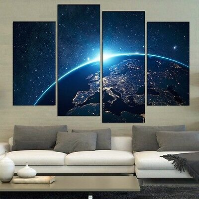 Modern Abstract Oil Painting Wall Decor Art Huge Beautiful Earth Universe