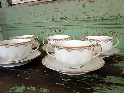 CMC France Limoges Hand Painted Bouillon Cup & Saucer Gold Gilt set of 5