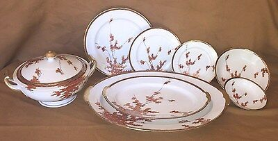 Vtg Porcelain Dinnerware China, Soko, Japan, Hand Paint, Service For 12, 64 Pc
