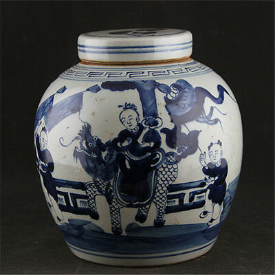 Chinese Asian Kirin Antique Porcelain Pot Decorated Old Jar with Lid #106
