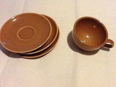 Vintage Russell Wright Iroquois Casual China Cup (1) & Saucers (3) Ripe Apricot
