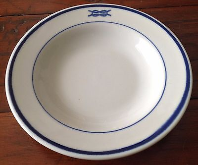 Vintage US NAVY Mess Rim Salad Cereal Bowl 7 Inch Square Knot Shenango China USA