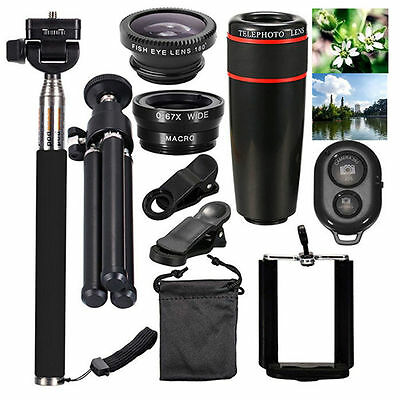 Universal 10 in 1 Lens Phone Camera Cell Clip Optical Telescope Kit Mobile Zoom