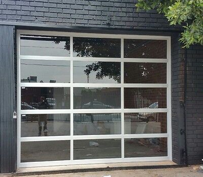 Full View Anodized Aluminum & Tempered Clear Glass Garage Door [8' x 7']