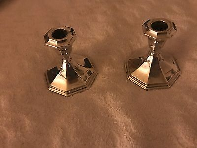 Pair of Vintage Wallace Silverplate Candlestick Holders Pattern 5010