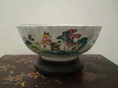 18th century Chinese Porcelain Famille Verte fluted punch bowl Qianlong period