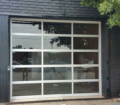 Full View Anodized Aluminum & Tempered Clear Glass Garage Door [9' x 8']