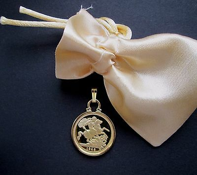St George Coin  Pendant *Gold plated* ( Half Sovereign Size ) in a pouch.