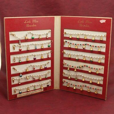 Vintage Store Display with 12 Little Miss Bracelet's Children's Christmas Unused