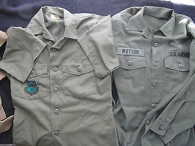 2 Vietnam War Us Army Combat Shirts With Patches Great Condition Long + Short