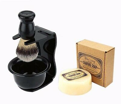Shaving Razor Stand Holder Bowl Brush Set Mug Badger Men Soap Shaving Gift Black