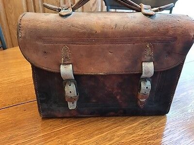 Antique Doctors Bag, Mail, Train, Apothecary, Leather Tooled, Handle 2 Straps