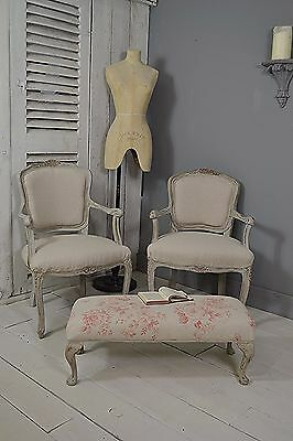 Pair of Shabby Chic French Louis XV Armchairs with Matching Foot Stool (Grey)