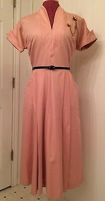 vintage 1950's dress, pink with black belt, full skirt