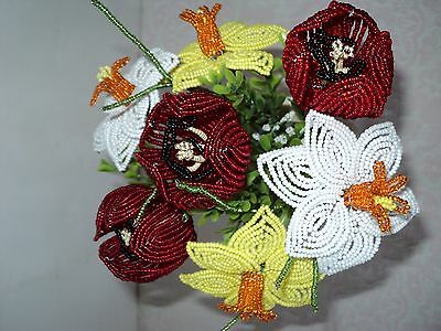 Vintage Handmade Glass Beaded Flowers