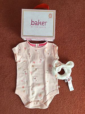 Ted Baker Baby Girls Romper Bodysuit & Rattle Soft Toy Gift Set.9-12 Months.