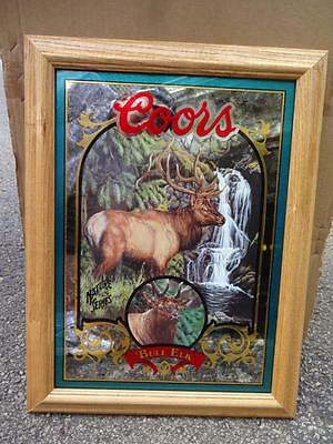 """Coors Beer Bull Elk Mirror Sign Nature Series. 16"""" X 21"""" New. Free Shipping!"""