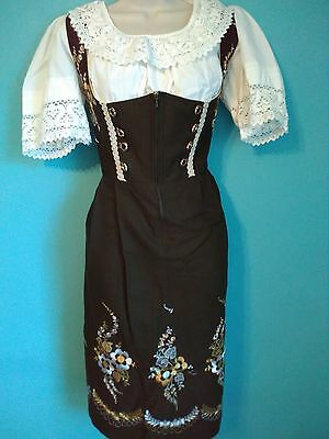 Embroidery vintage german bavarian authentic green dirndl zippered gold