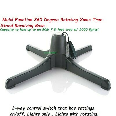 Multi Function 360 Degree Rotating Christmas Tree Stand Revolving Base 7.5""