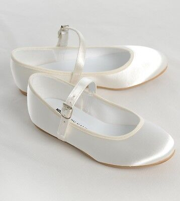 NEW Satin Bar Flower Girl,Bridesmaids,Communion Shoes - White or Ivory-All Sizes