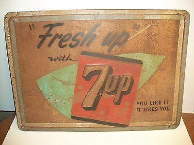 """Vintage 1950`s Embossed Tin 7 Up Store Sign / Gas Station-27 1/8"""" Wide X 19 1/8"""""""