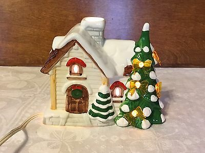 Vintage Snow Village Ceramic Lighted Christmas House W/ Tree & Cord Works