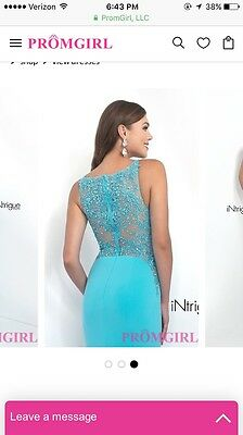 e8c8049545b04 Light Blue (Turquoise, Teal) Fitted, Lace Back, Long Prom Dress by