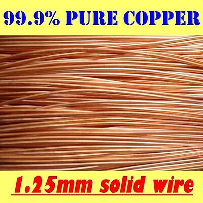 10 METRES SOLID BRIGHT COPPER WIRE, 1.25mm = 18G SWG = 16G AWG !!FREE POSTAGE!!