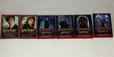 HARRY POTTER MOVIE PROMO PIN BUTTON Lot of 6 pinback, 2002 & 2003