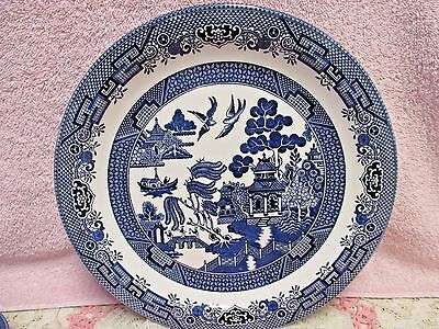 Churchill Blue Willow Chop Plate Platter Round Perfect Blue White Staffordshire