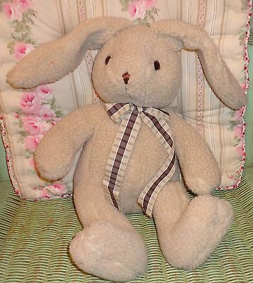 "Russ Berrie NIBBLES ~ Large 17"" Tan / Brown Nubby Plush Bunny Rabbit Floppy Ears"