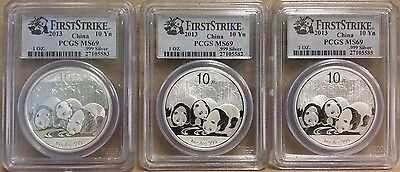 2013 First Strike Chinese Panda 10 Yuan PCGS MS69 1 oz Silver Coin 3 Coin Lot
