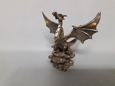 Rawcliffe Pewter Dragon Nest with Baby Dragons MISSING 1 EYE GEM 1999 #1111050