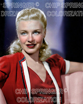 GINGER ROGERS wearing a Red Dress | Beautiful 8x10 COLOR Photo by CHIP SPRINGER