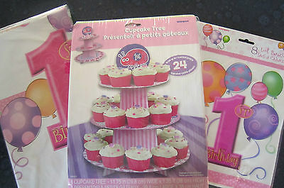 First birthday party GIRL set,cupcake stand, tablecloth and party bags