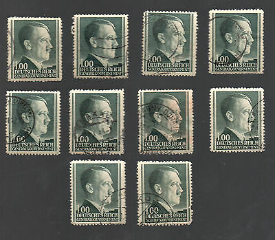 WWII Occupied Poland - Lot of 10 Stamps 1 Zloty with Hitler's Head - #19