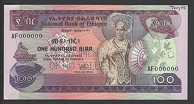 National Bank Of Ethiopia 100 Birr 1976 P34s Specimen Perforated  Uncirculated