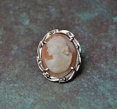 """Vintage CAMEO Pendant Brooch Pin Scarf Holder Cameo is 1 1/4"""" X 3/4"""" 800 silver"""