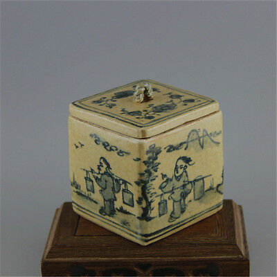 Chinese Asian Antique Porcelain Square Pot Decorated Old Jar with Lid #59