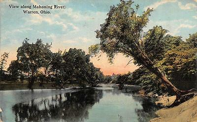 WARREN, OH  Ohio   VIEW ALONG MAHONING RIVER  Trumbull County   c1910's Postcard