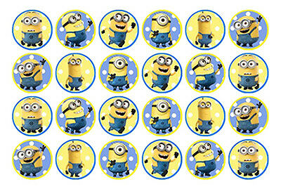 24 Minions Edible Mini Wafer Paper Cupcake Cup Cake Decoration Images Toppers