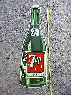 Vintage 1960's Embossed Tin 7UP Soda Bottle Sign Total Production 850 USA 44""
