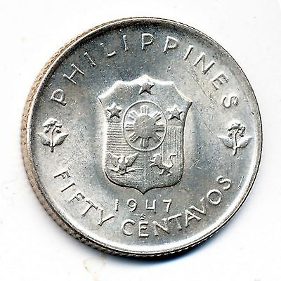 1947-S Philippines, Uncirculated, Silver 50 Centavos, Km #184