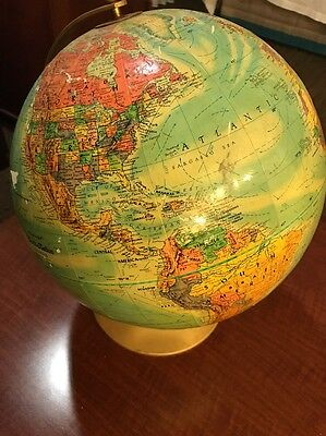 "Vntg 12"" Replogle World Nation Series Globe Raised Relief LeRoy Tolman USSR"