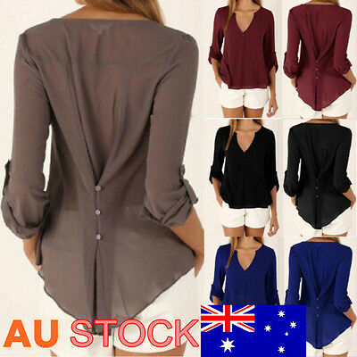 Office lady Tops Loose T-shirt Blouse Womens Casual Long Sleeve Blouse Plus Size