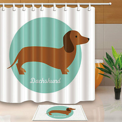 Dachshund Shower Curtain Bedroom Decor Waterproof Fabric & 12Hooks 71*71inch