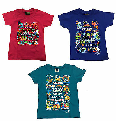 Kids girls T shirt Australia Australian Day Souvenir 100%cotton Koala Kangaroo